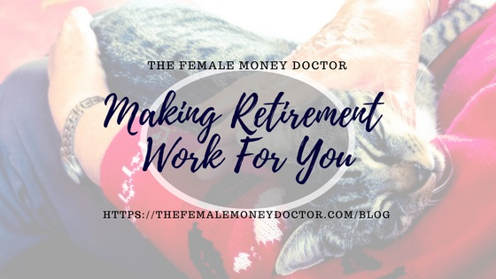making-retirement-work title picture. Old woman holding a contented looking tabby cat